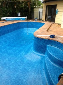 fibreglass pool resurfaced with Aqualux