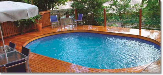 Decked above ground pool fitted with Quick-Fix